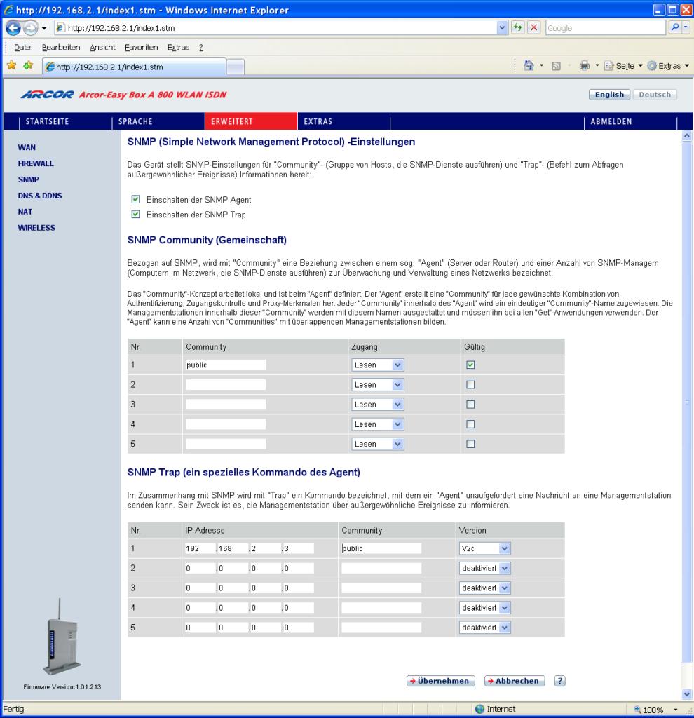 SNMP-Konfiguration der Easy-Box A800